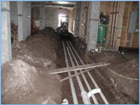 Underground Plumbing Shop Drawings and MEP Coordination Drawings as typically provided by JPK Drafting & Design provide contractor with trenching and sloping pipe data for storm and sanitary runs.jpg